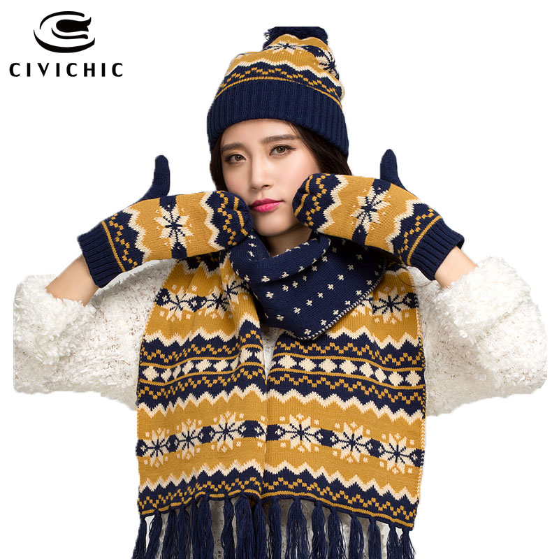 CIVICHIC Winter Warm Set Lady Knit Woolly Scarf Hat Glove 3 Piece Christmas Snowflake Headwear Pompon
