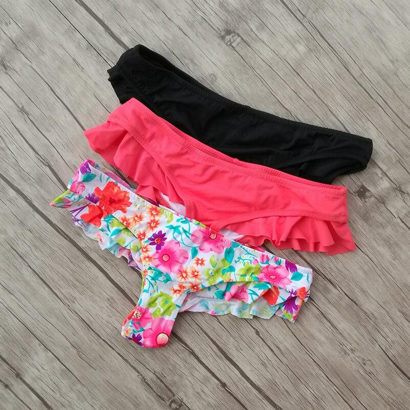 Cheeky Bikini bottom Swimming Red Black Floral Thong Trunks Swimwear Womens brazilian  swimwear Womens Swim bottoms