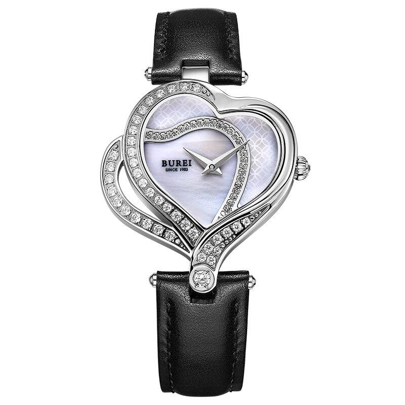 BUREI 13006 suisse montre femmes marque de luxe romantique amour coeur série autriche diamant argent relogio feminino