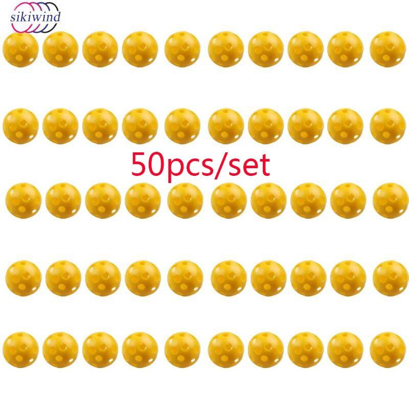 50Pcs/set Plastic Golf  Balls Whiffle Airflow Hollow Golf Practice Training SportsAccessories Training Balls High Quality