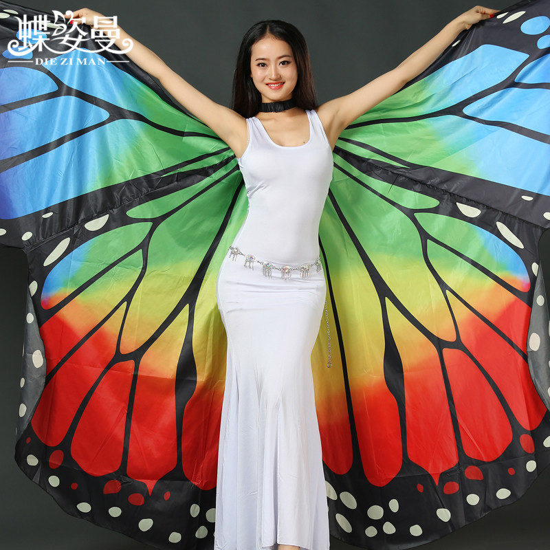 Girls Belly Dance Dress Adult Butterfly Wings Props Golden Wings Belly  Dance Costumes Dance Wings and ... 652ba773a