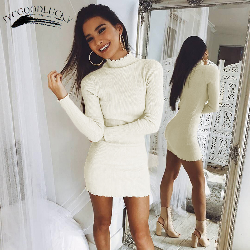 Knitted Sweater Winter Dresses Slim Robe Turtleneck Bandage Dresses For Women 2017 Long Sleeve Ukraine Sexy Dress Female