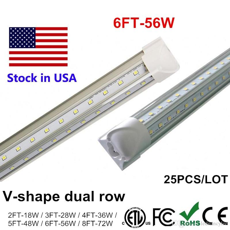 1.8m 1800mm Tube LED V Shape T8 Integrate LED Tubes Light 6ft 6 feet LED Fluorescent Tubes Lighting Double Side Power AC85-265V t8 led tube 1200mm light 18w120cm 4ft 1 2m g13 with holder fixture high power smd2835 fluorescent replacement 85 265v