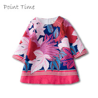 2017 Fashion Girls Flower Dress Summer Vintage Parrot Pattern Dress Princess Costume For Kids Baby O