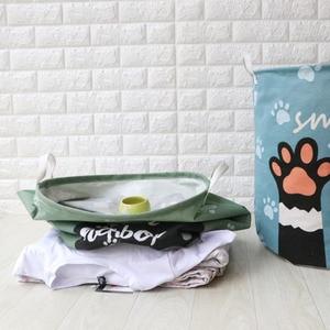 Image 4 - 귀여운 고양이 개 발 대형 접는 세탁 바구니 만화 고양이 보관 배럴 코튼 린넨 더러운 옷 햄퍼 장난감 보관 바구니