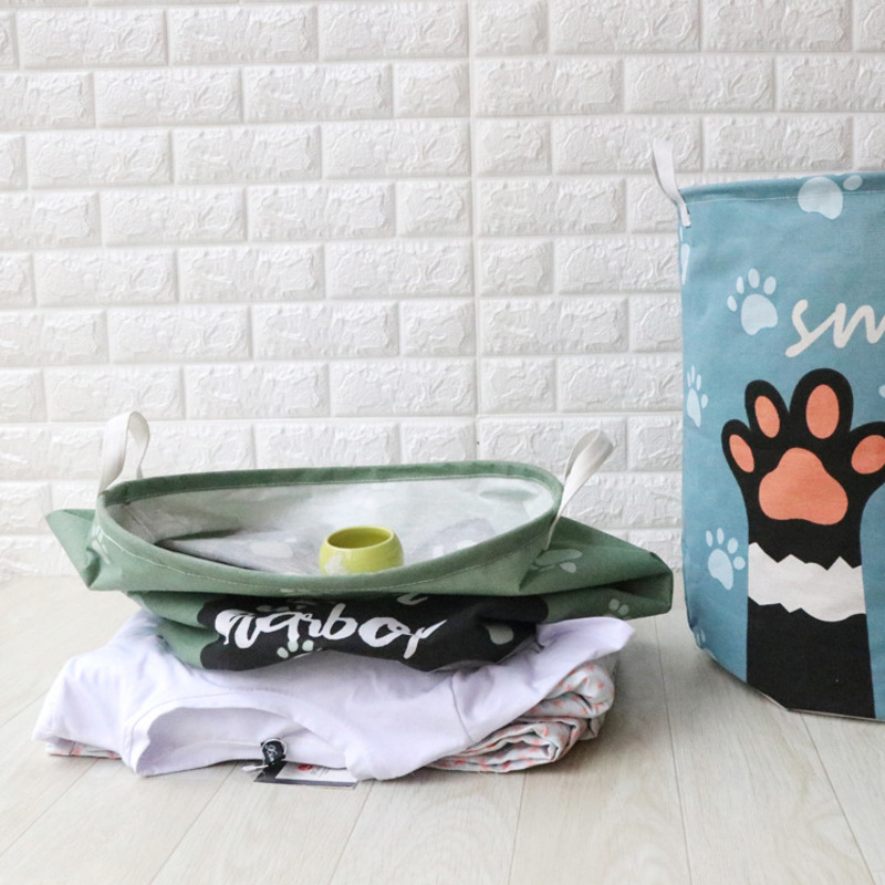 Image 4 - Cute Cat Dog Paw Large Folding Laundry Basket Cartoon Cat Storage Barrel Cotton Linen Dirty Clothes Hamper Toys Storage Basket-in Storage Baskets from Home & Garden