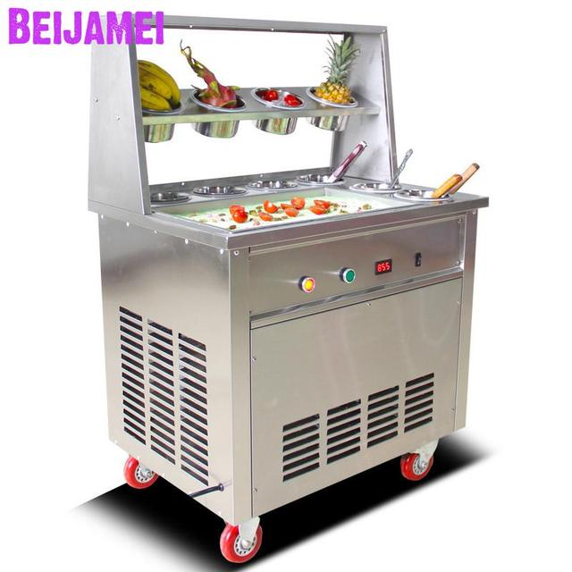 BEIJAMEI Hot Sale Square Pan Commercial Thailand fried ice cream machine 110v 220v fried ice cream roll machine with 10 barrels