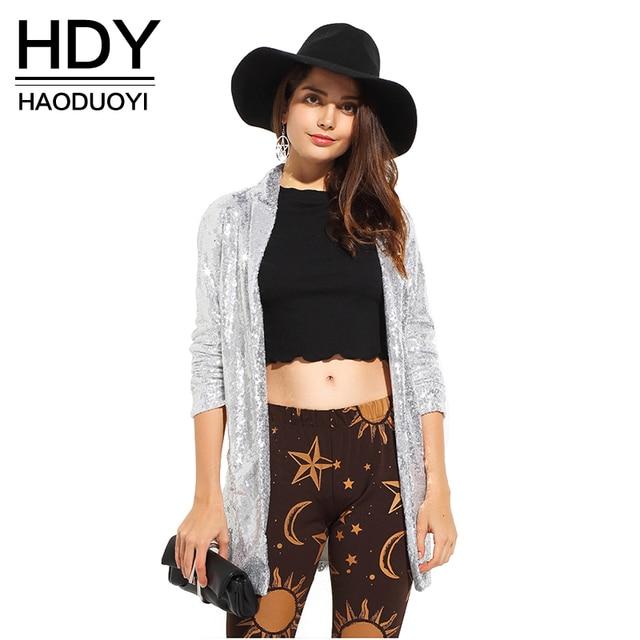 HDY Haoduoyi 2017 Осень Женская Мода Серебряный Блестками Пальто с отложным Воротником С Длинным Рукавом Outwears Кардиган Куртки