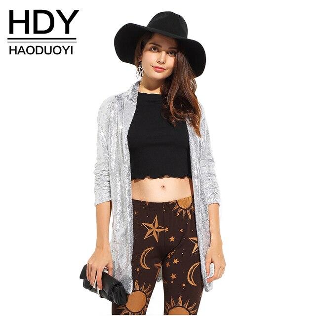 Hdy haoduoyi 2017 outono mulheres da moda prata lantejoulas casacos turn-down collar manga comprida outwears casacos cardigan