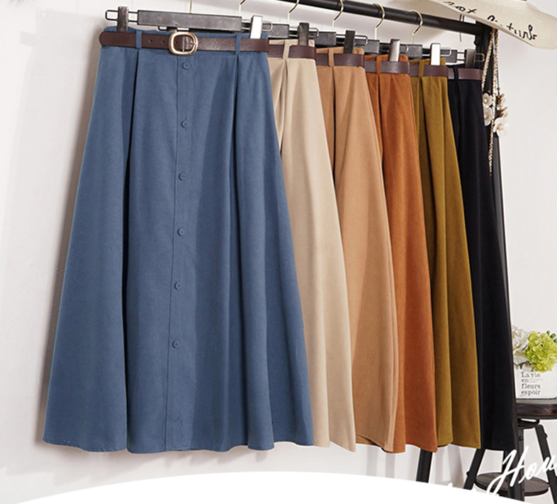 Autumn Winter Suede Velvet Skirt Female 2019 Midi Long Elegant Korean High Waist Skirt Women Blue A-line Pleated Skirt