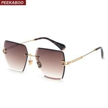 Peekaboo rimless square sunglasses women 2018 metal high qua