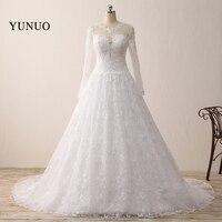 Real Photos 2018 Vestido De Noiva New White Wedding Dress Scoop Long Sleeve See Through Floor Length Bridal Gowns Cheap Dresses