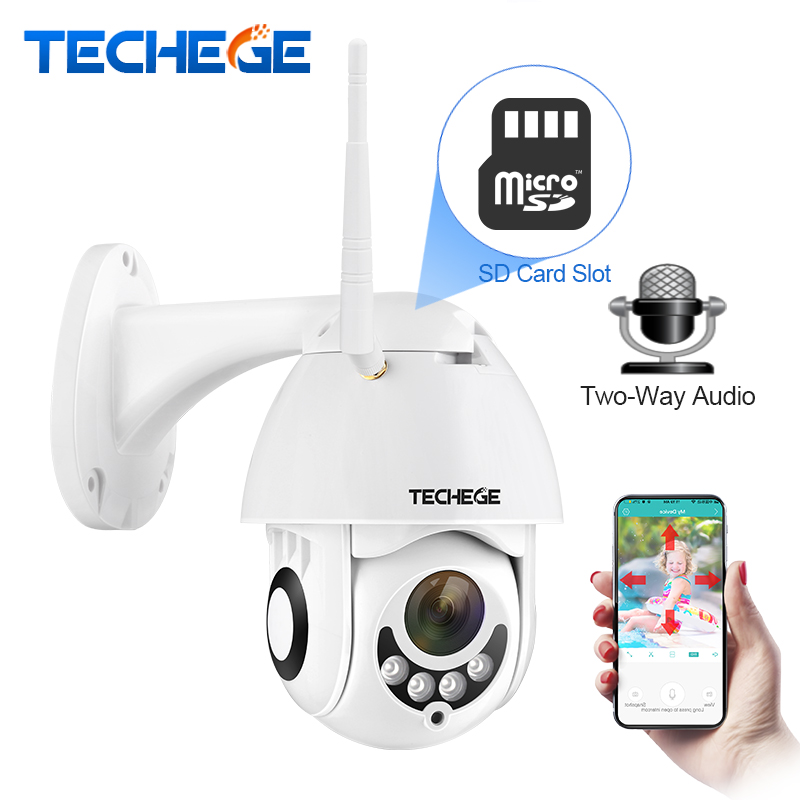 Techege 1080 p cámara IP inalámbrica Pan/inclinación dos manera hablar 2MP MINI Wifi cámara CCTV de seguridad ranura para TF al aire libre interior impermeable