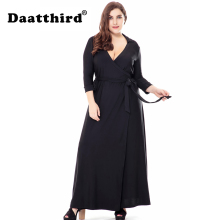 2018 Womens Elegant Black Plus Size 3/4 Sleeves Bridesmaid Prom Maxi Party Dress