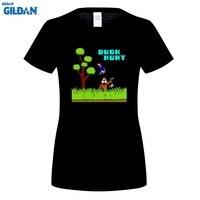 GILDAN DUCK HUNT Retro Classic Video Game Women S Black T Shirt Size Brand Cotton Women