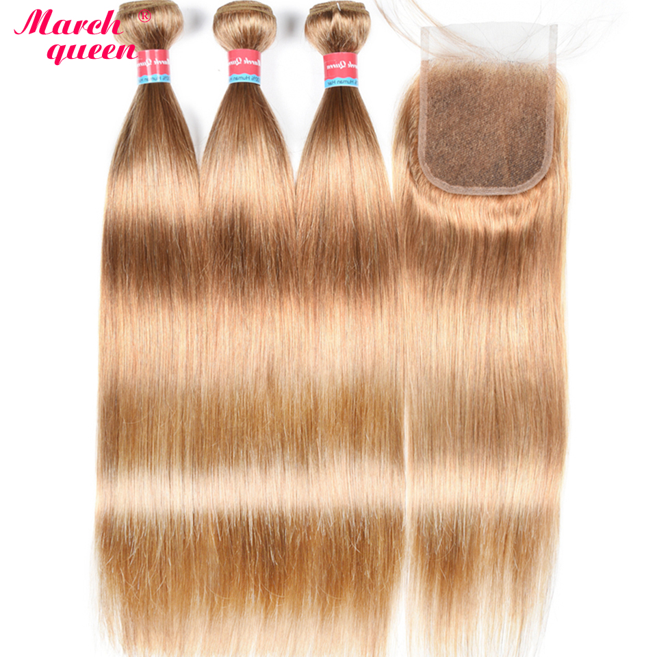 March Queen Malaysian Hair 3 Bundles With 4x4 Lace Closure Straight 27 Honey Blonde Human Hair
