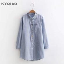 c0a0e67413f Embroidery shirt 2018 Plus size women clothing female autumn spring autumn Japanese  style vintage long blue white blouse blusa