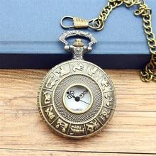 Dial 4.8 cm SteamPunk Style Constellation Zodiac Pocket Watch Pendant Necklace watch best gift for women and men quartz watch