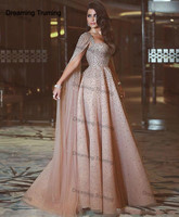 Bling Bling Champagne Prom Dress With Cape Sparkly Beading Sequined Saudi Arabic Floor Length Formal Evening Dress Custom Made