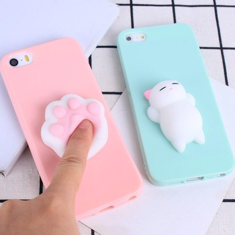Belle 3D silicone dessin animé mignon chat couleur bonbon pour iPhone 5 5 s SE étuis pour téléphone étuis pour iPhone 6 6 s 7 7 Plus souple TPU coque ...