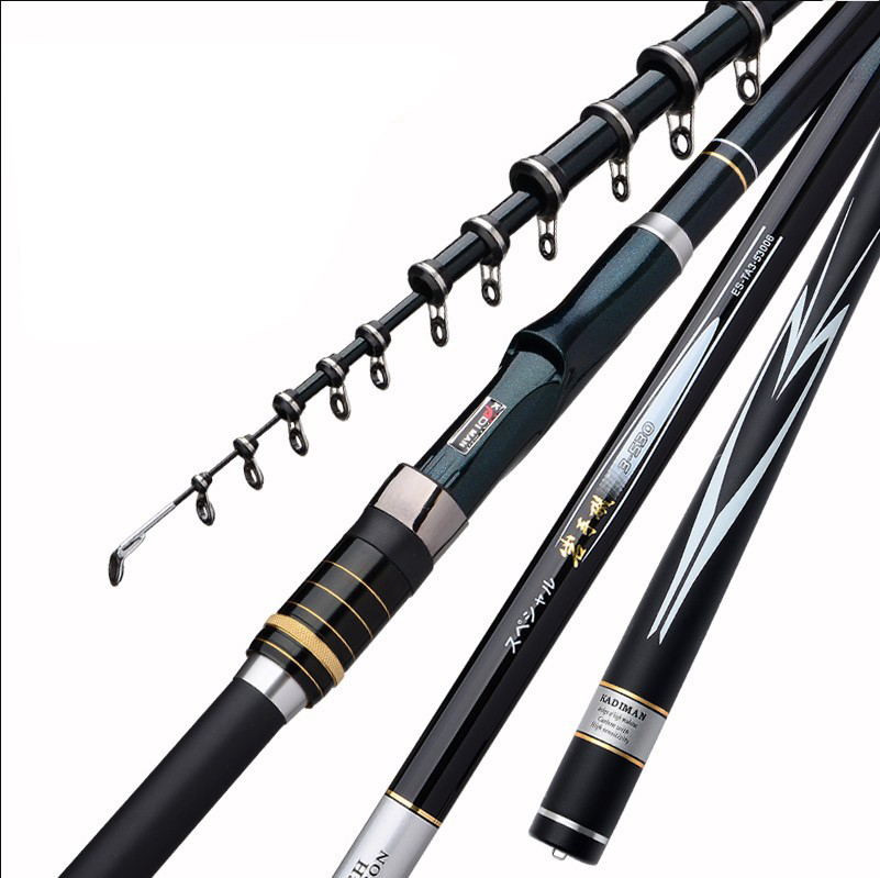 3 6M 4 5M 5 4M 6 3M High Carbon Fiber Rocky Telescopic Fishing Rod Spinning