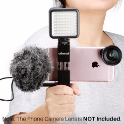 Ulanzi Pocket Rig for Smartphone with BY-MM1 Microphone and 49 LED Video Light Cold Shoe Plate for iPhone Filmmaking Videography
