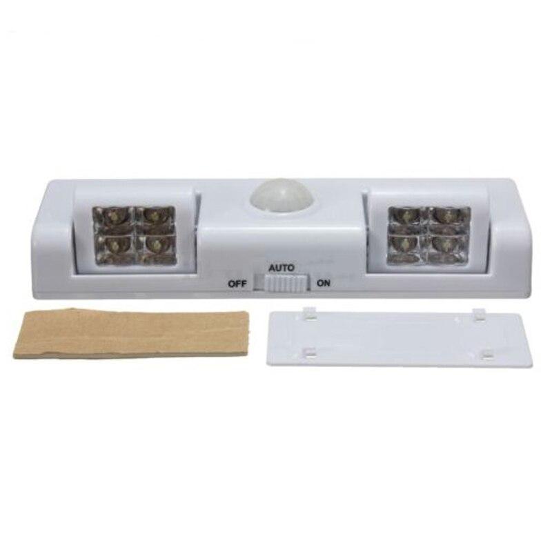 Baltā 8 LED kustības sensora gaismas PIR skapja skapja skapis