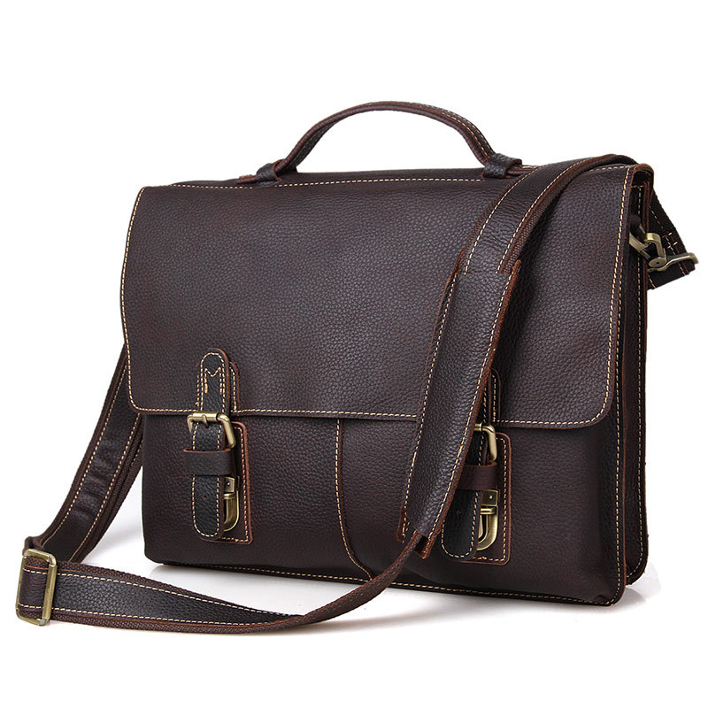 Nesitu Vintage Brown Durable Thick Genuine Leather Men's Briefcase Men Messenger Bags 14'' Laptop Portfolios Handbag M7090