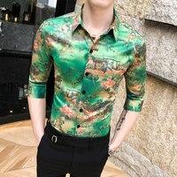 Summer 2019 Designer Shirt Mens Green Fashion Shirts for Men Style Mens Shirts Casual Slim Fit Cotton Camisa Floral Masculina