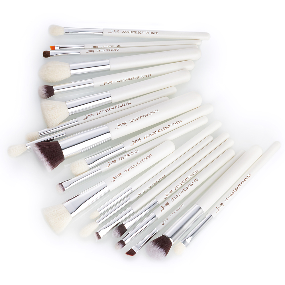 Image 2 - Jessup Pearl White/Silver Professional Makeup Brushes Set Beauty tools Make up Brush Cosmetic kit Foundation Powder Pencil Paintmake upmake brushesmake up brushes -