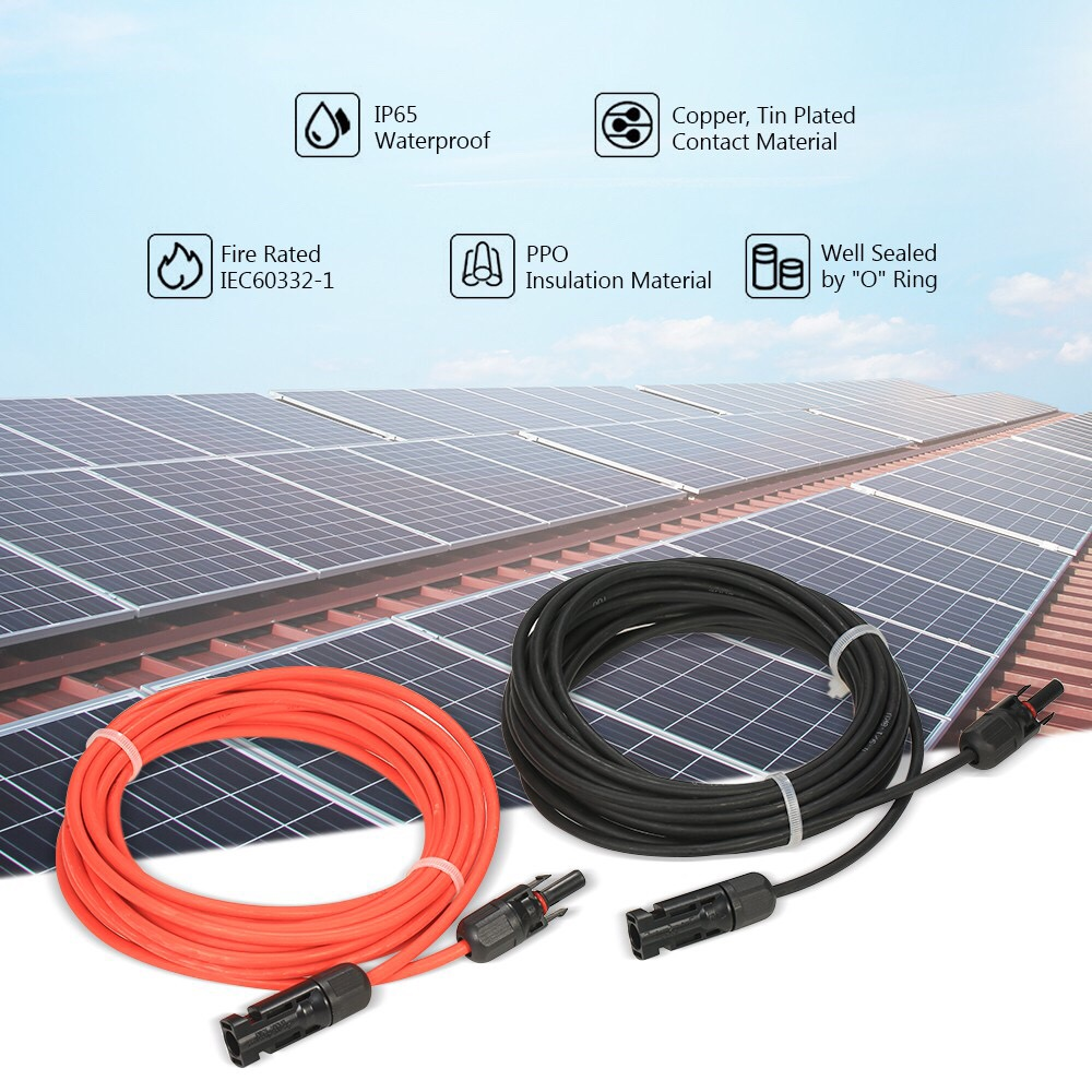 MC4 Solar Adaptor Cable Solar Panel Extension Cable Wire MC4 Connector Solar Extension Cable with MC4 Female and Male Connectors 6mm/² 1 FT Red 10AWG 1 Pair Black
