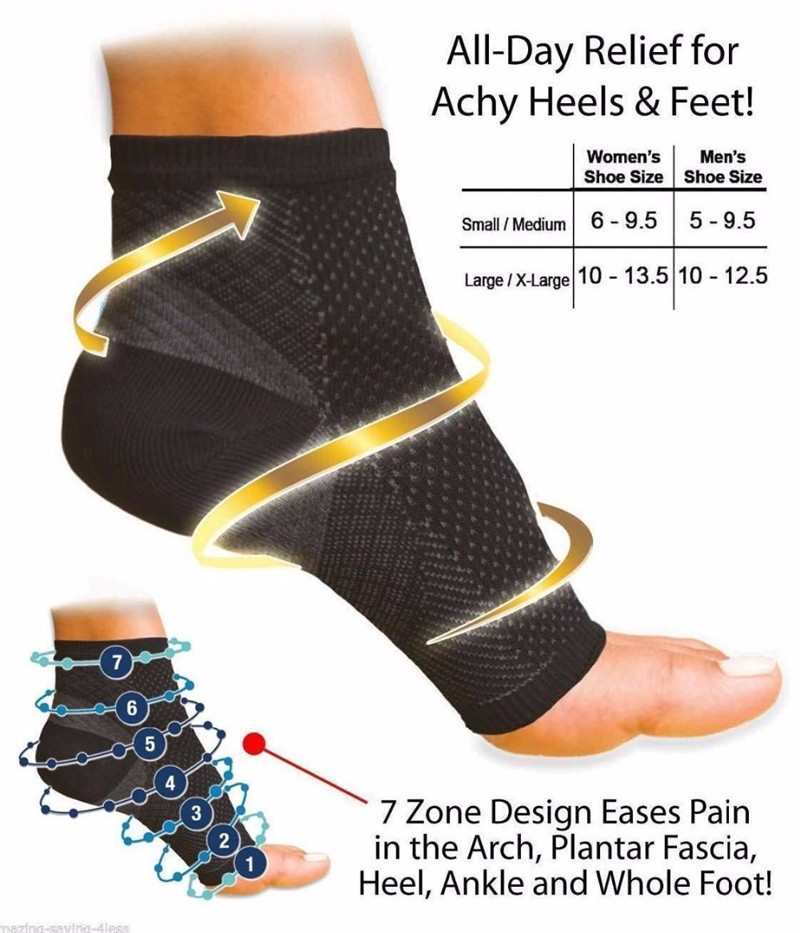 EFINNY Women Ankle Heels Support Men Compression Foot Angel Sleeve Heel Arch Support Pain Relief   Sock   1 Pair