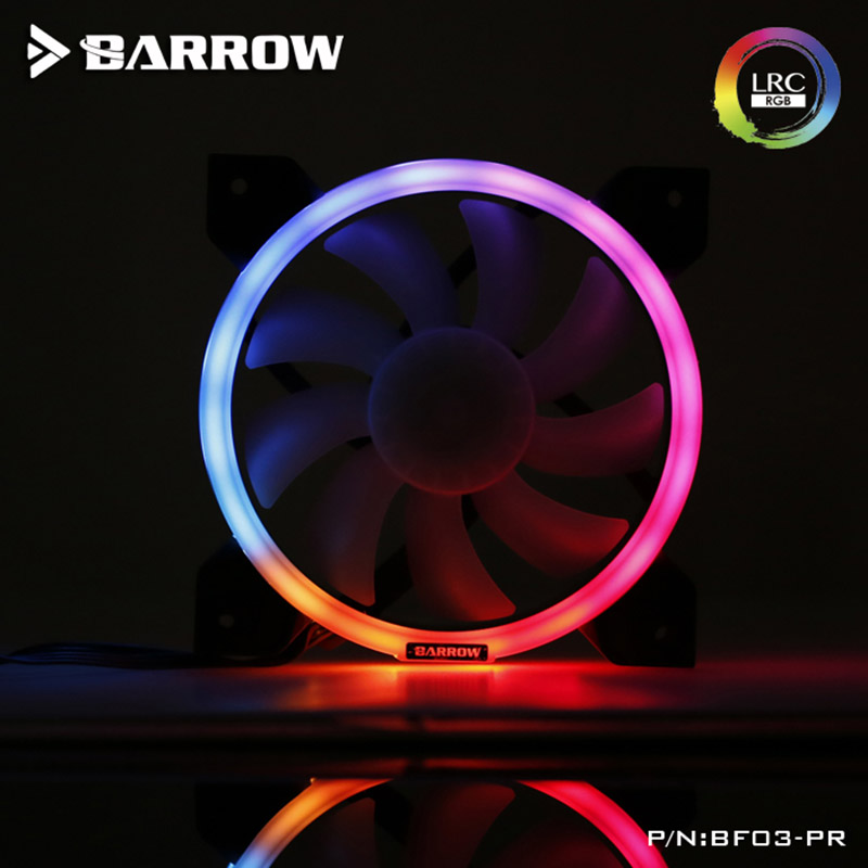 Barrow PWM Fan Size 120*120mm Fan use for Radiator Computer Case with Aurora RGB Light 4PIN Fan 5V RGB 3PIN Support to AURA