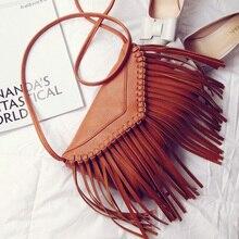 Hot Sales Gray red Black Brown Envelope Bags Casual Style Tassel Fringed Shoulder Bags Women Messenger Bag Design Bag
