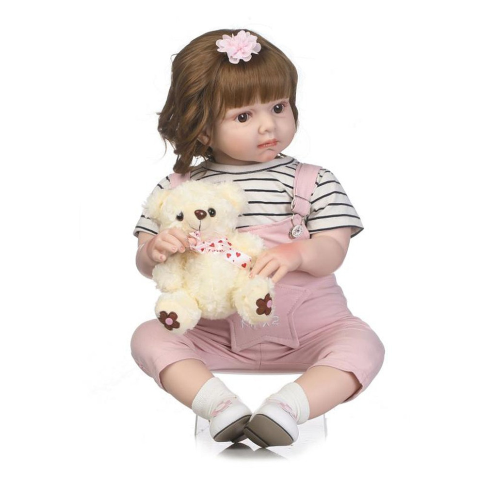 70cm Baby Reborn Doll Soft Silicone Lifelike Doll With Rompers Stuffed Doll Simulation Newborn Doll Photograph Props Kids Toys npkcollection55cm soft silicone newborn baby doll with eyes closed simulation to accompany sleep toys silicone reborn baby doll