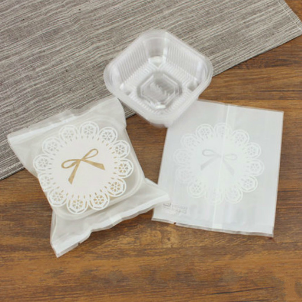 50g 75g 100g White Lace Mooncake Bags Half Clear Plastic Bag With ...