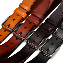 Men New High Quality Genuine Leather Pin Buckle Belt