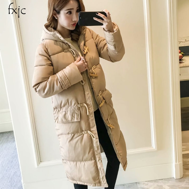 Clever Women New Long Sleeve Horn Buckle Mid-length Hooded Cotton Coat Warm Jacket 2018 Hot Womens Cotton Coat 4 Colors P91 Good For Energy And The Spleen Jackets & Coats Parkas