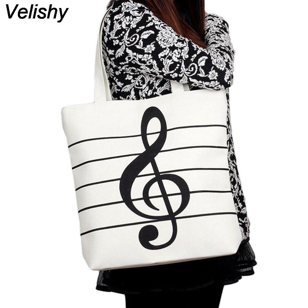 1PC 2016 Large Girls Canvas Musical Shopping Shoulder Bag Notes Totes Handbag