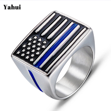 Fashion personality tide male American flag pattern stainless steel ring Vintage punk men casting jewelry wholesale