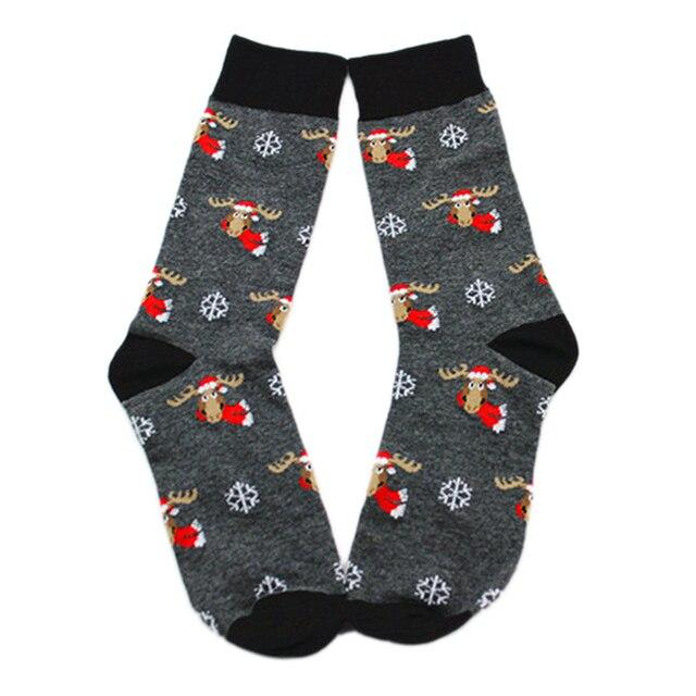 e04de7697ceb83 Mężczyźni załoga skarpety bawełna materiał Cartoon wzór Elk skarpetki dla  psa Anime mężczyźni skarpety świąteczne skarpety