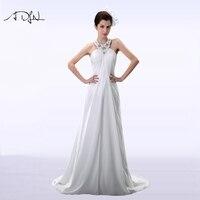 ADLN Beaded Collar Chiffon Beach Wedding Dress Vestidos De Novia Crystals Beach Bridal Gown Customized 2017