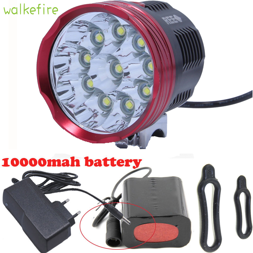 Walkfire 18000 Lumens 10 X XM-L T6 LED Bicycle Light Front Head Bike Bicycle Cycling Lamp Light + 6x18650 Pack + Charger walkfire waterproof bike light headlamp 20000 lumens 12 x xml t6 led bicycle cycling head light 18650 battery pack charger