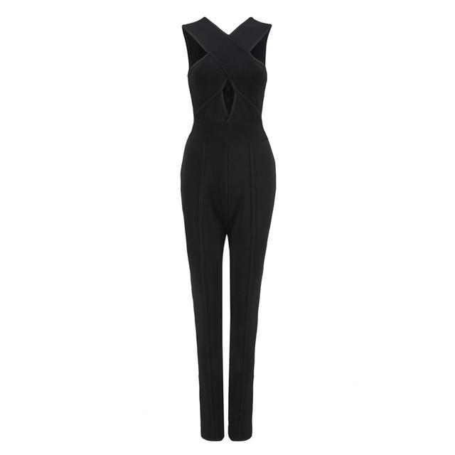 89de2986c2b7 2016 new arrival black Bandage Crossover Front Jumpsuit v-neck hollow cross  stylish celebrity bodysuit