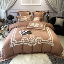New Brown Pink Luxury European Style Applique Embroidery Egyptian Cotton Bedding Set Duvet Cover Bed sheet Linen Pillowcases