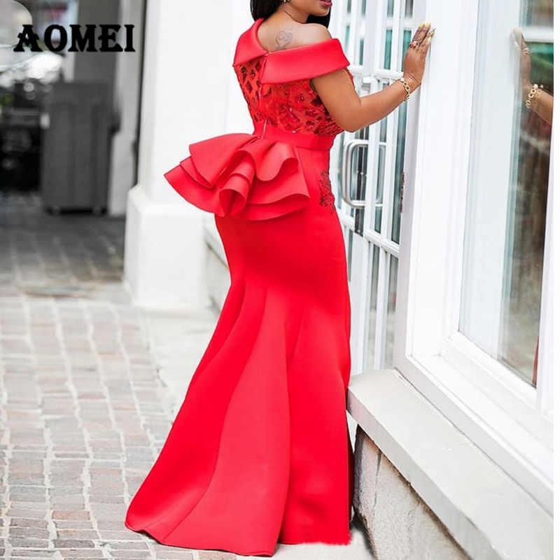 Frauen Kleid Maxi Meerjungfrau Nacht Pailletten Party Tragen Abendkleid Red Classy Formale Kleider Eine Schulter Glitter Kleider Sommer Kleidung