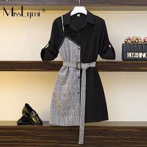 L-4XL размера плюс женское элегантное платье-рубашка Лето 2020 модные кружевные лоскутные клетчатые Повседневные платья в британском стиле с п...