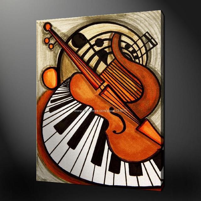 piano violin premium quality canvas picture wall art oil. Black Bedroom Furniture Sets. Home Design Ideas