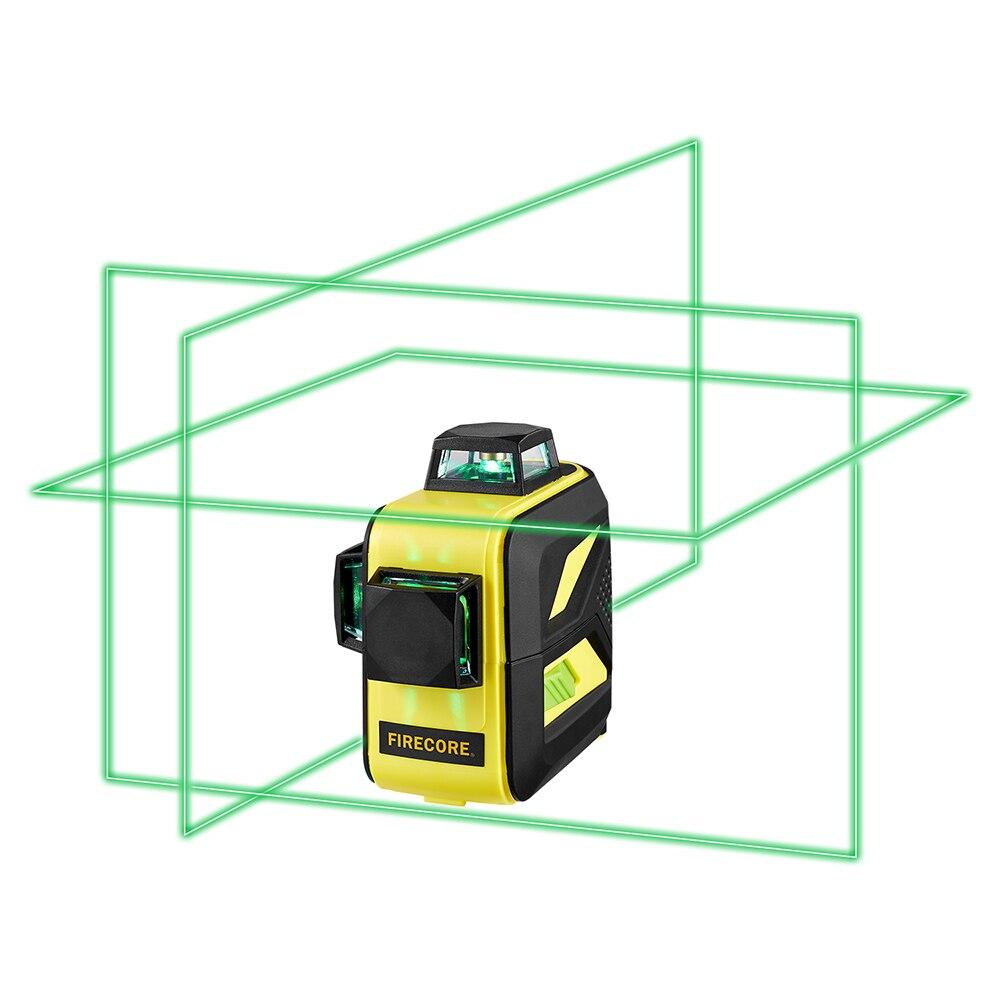 FIRECORE F93T-XG 12 Lignes 3D Vert Laser Niveau LR6/batterie au lithium Auto-Nivellement Horizontal et Vertical Croix Lignes Peut utiliser Le Récepteur - 2