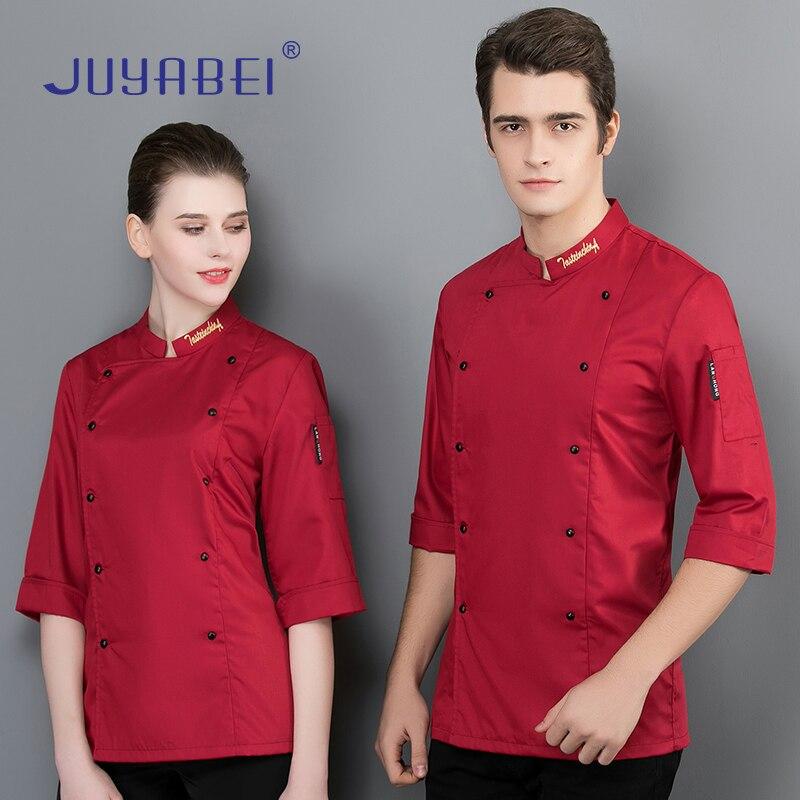 f79f34db3b9 Uniforme de Chef Chaqueta de manga siete cuartos servicio de comida  restaurante uniforme cocina panadería Hotel hombres mujeres trabajo abrigo Chef  ropa